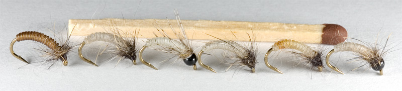 micro nymphs tied with catgut biothread