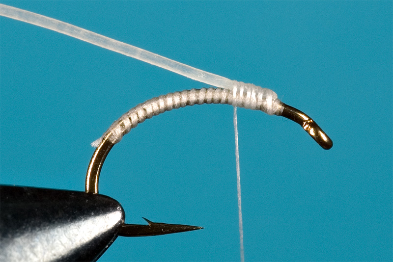 step 2 in tying a micro catgut nymph